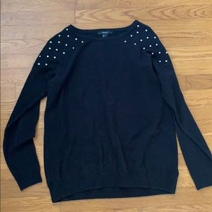 Black Sweater with Jeweled Shoulders